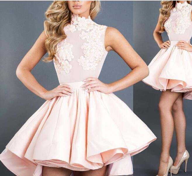 Fashion High Low Homecoming Dresses For Juniors High Neck A-Line Appliques Short Prom Gowns Satin Graduation Dress