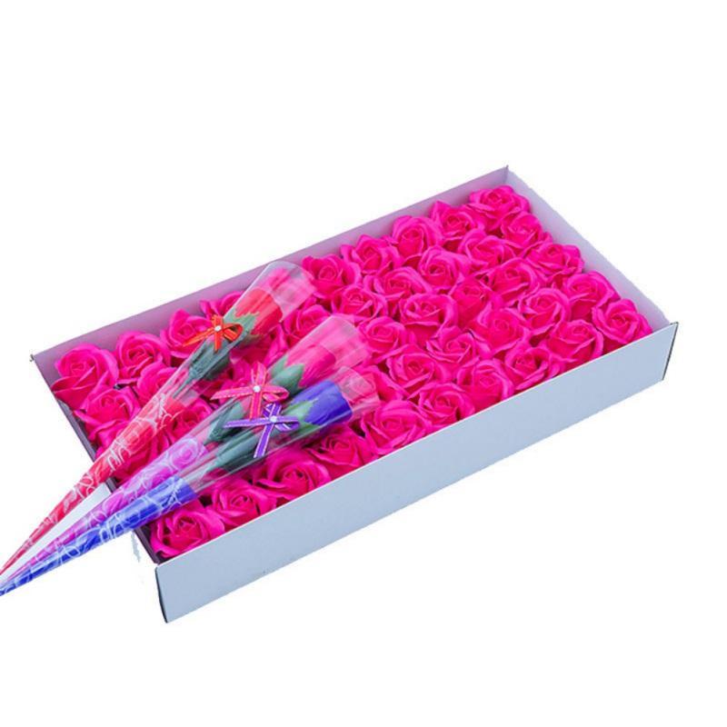 50PCS Silk Rose Künstliche Blumen-Köpfe mit Verpackungs-Kasten-Geschenk für Jahrestag / Geburtstag / Hochzeit / Valentinstag / Muttertag