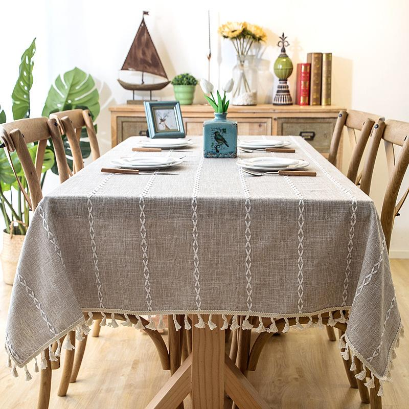 Thick Yarn-Dyed Linen Fabric Blue Gray Strip Tassel Tablecloth Hotel Christmas Decoration Cloth for Coffee Bar Table Y200421