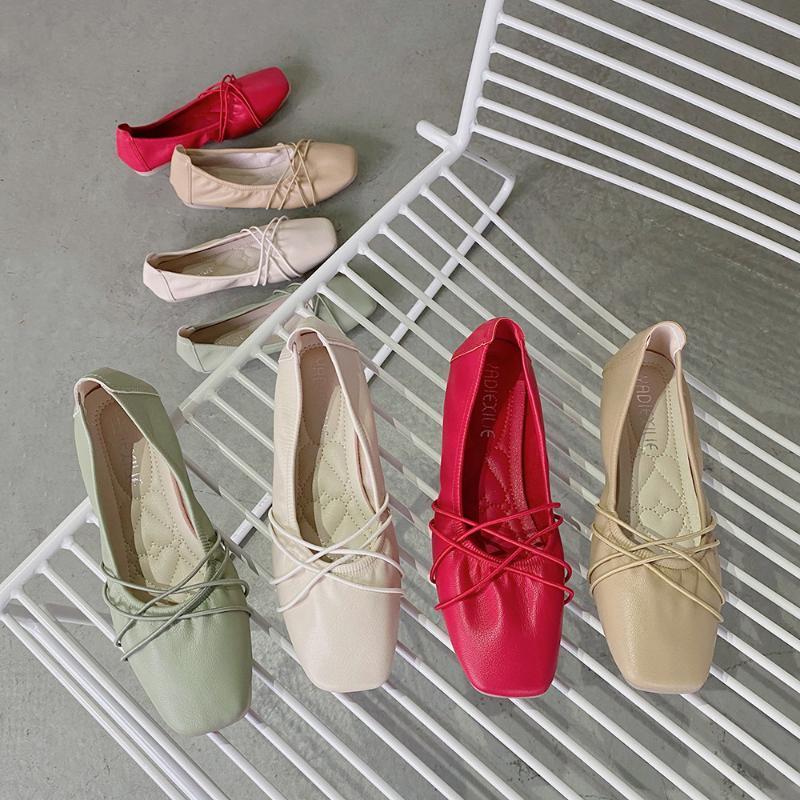 Morbida in pelle pieghettata solida punta quadrata ballerine donna Zapatos de mujer slittamento scarpe da donna scarpe roll-up della fascia elastica