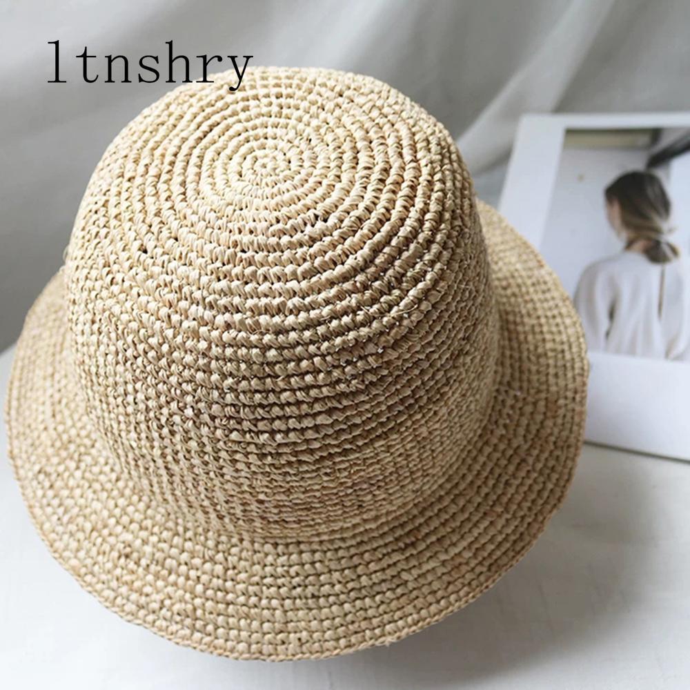 El Kadınlar Straw Güneş Şapka Kepçe kap Rafya Lady Kız Panama Beach Şapka Floppy Kadın Gezi Katlama Cap CX200714 İçin Yaz Şapka yapılan