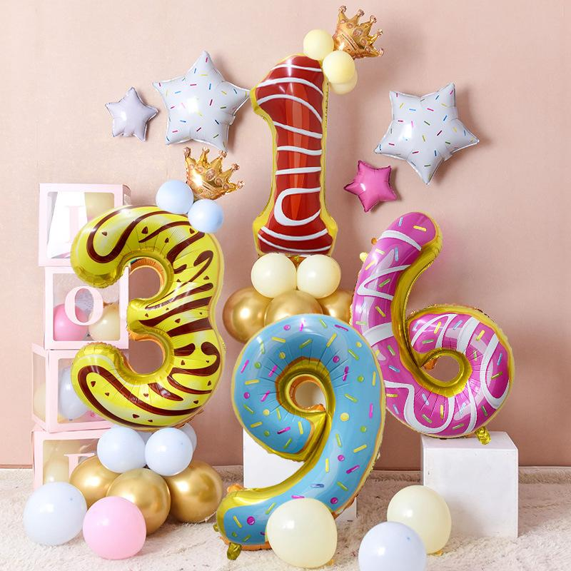 Süßigkeit Nummer Partei Ballon Set Kindergeburtstag Baloon Artikel 1. Geburtstags-Donuts-Party Ballon Glückliche Dekor Kinder