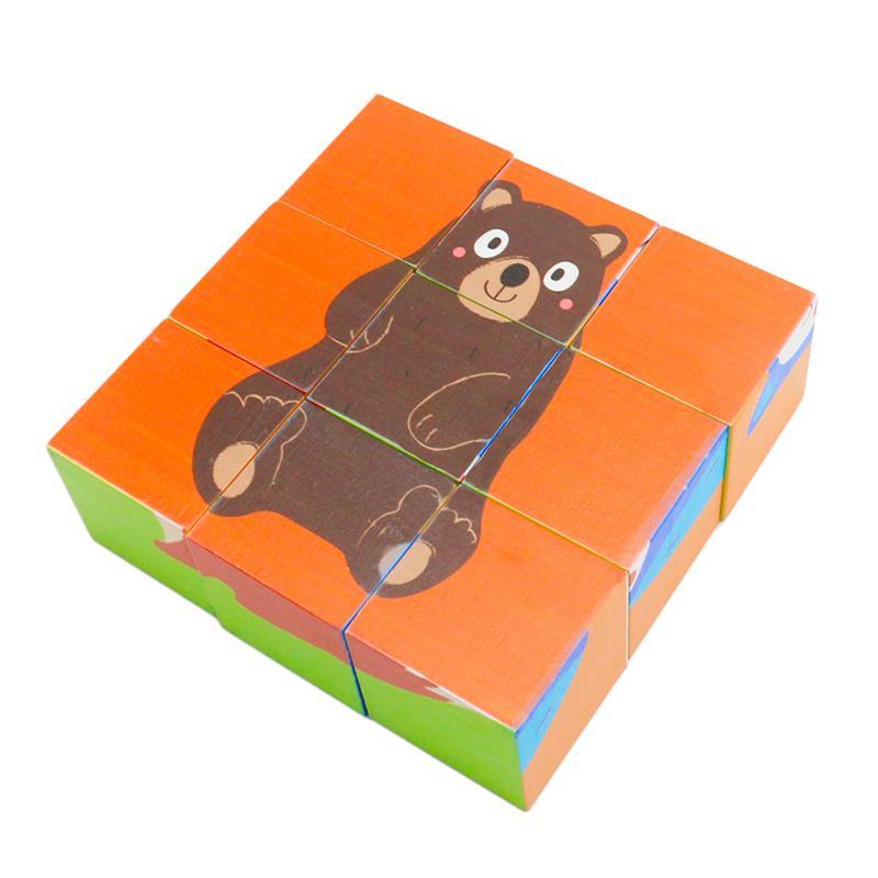 أطفال خشبية اللغز لغز نوع اللعب 9PCS الغابة الحيوانية الجانبين الست كتل لغز ألعاب تعليمية للأطفال