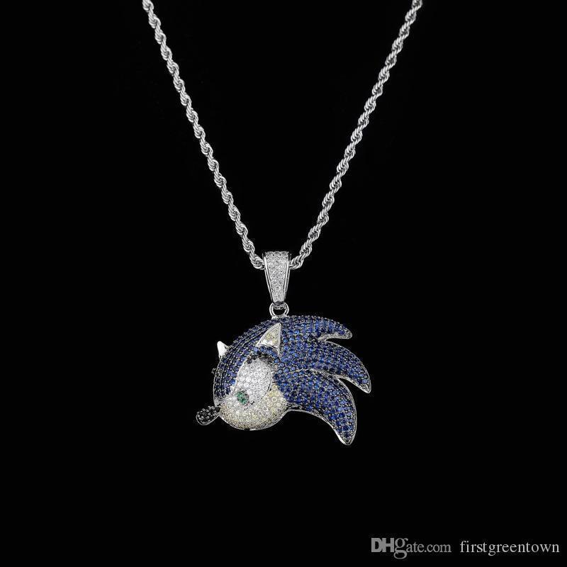 Zircon Hip Hop Halskette Fliegender Fisch-hängende Zusatz-Mode-Farben-Diamant-Halskette für Männer Frauen Schmuck