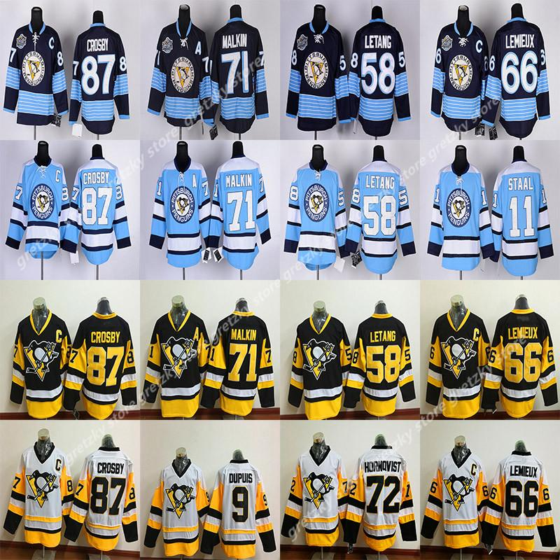RBK Pittsburgh Penguins jérseis 87 Sidney Crosby 58 Kris Letang 59 Jake Guentzel 66 Lemieux 71 Evgeni Malkin 81 Phil Kessel jérsei do hóquei