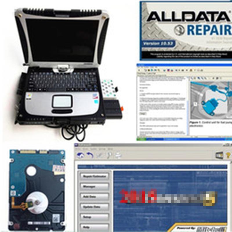2019 mais novo alldata m ... ll disco rígido de 1TB de HDD de reparação auto instalado em toughbook cf19 4gb computador de diagnóstico tela de toque ler ao trabalho