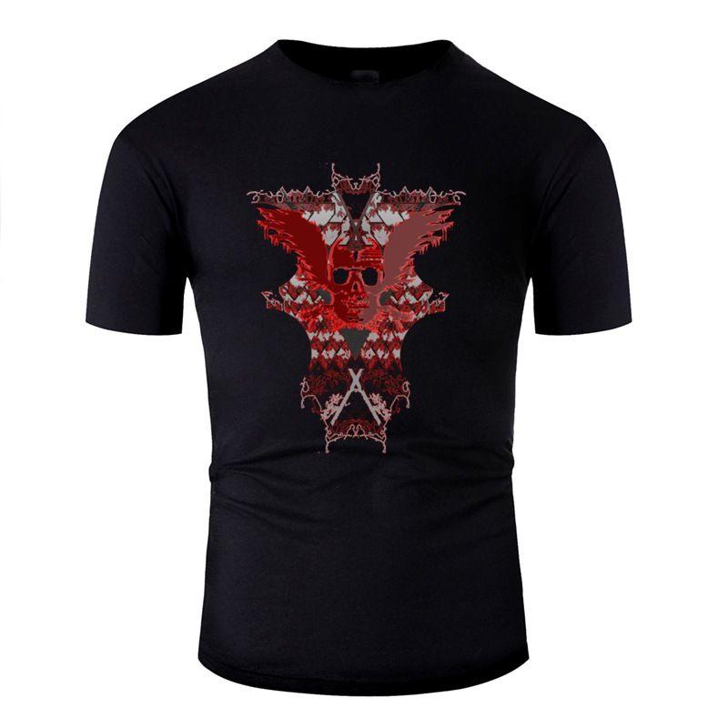 Moda Design T-shirt gráfico do crânio New Arrival Para Tops Mens Cotton Adulto camisetas Exército Verde Gents Hiphop