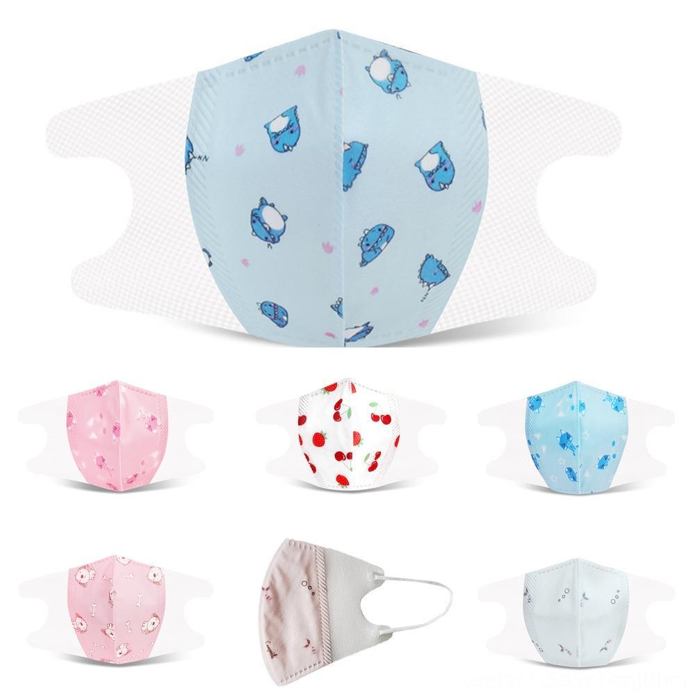 Masques jkvic fruits IceSilk enfants de protection STOCK Garçons Filles Cartoon Bouche Enfants Anti-poussières respirables Earloop coton réutilisable lavable visage