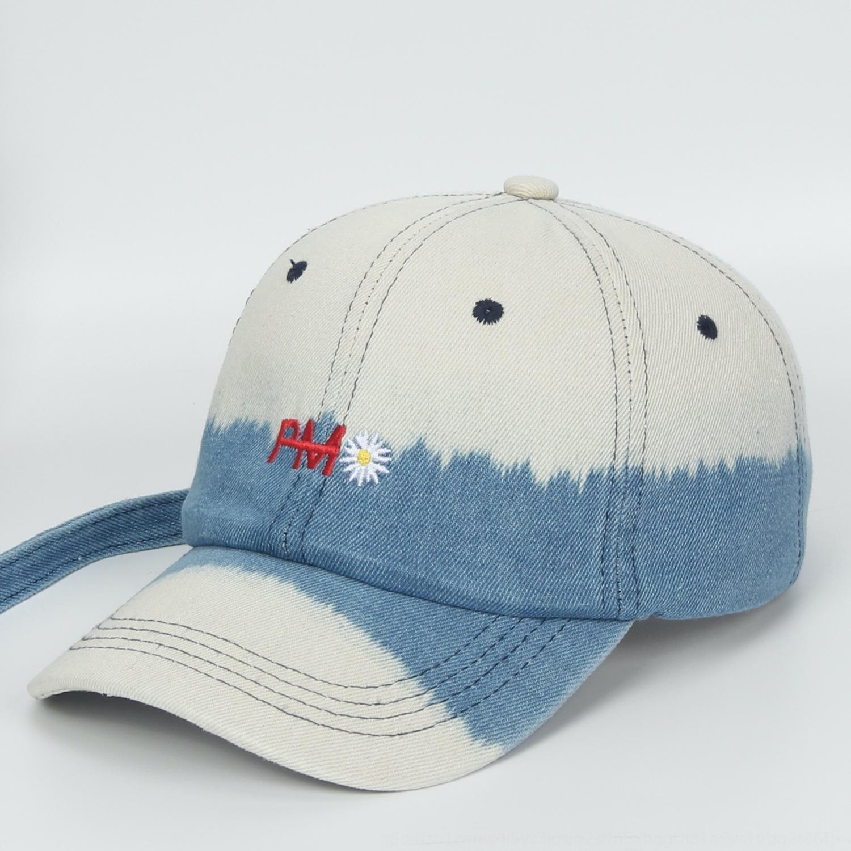YYpab чистый хлопок Вышитые бейсболы промывают долго двухцветную старая бейсболку Daisy вышитой модного колпачка звезда же стиле папа шляпу Deni KJwUO