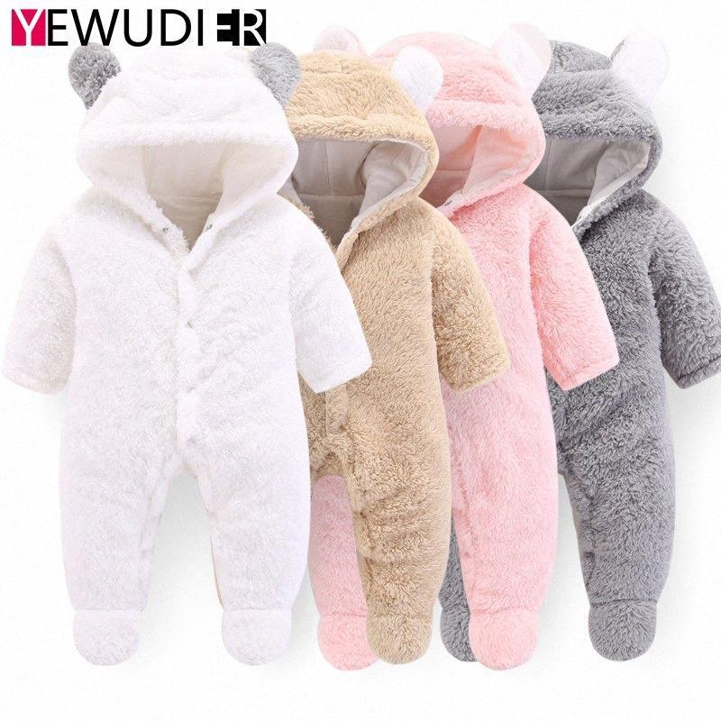 Neu Winter Neugeborene Strampler Kleidung Baby Coral Fleece Warm-Overall-Kleinkind-Mädchen-nette mit Kapuze Overalls Baby-Kostüm OJvc #