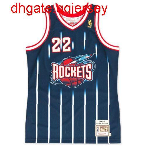 Barato Clyde Drexler # 22 Mitchell Ness camisetas de baloncesto Armada 1996-1997 Top Jersey retrocesos chaleco cosido