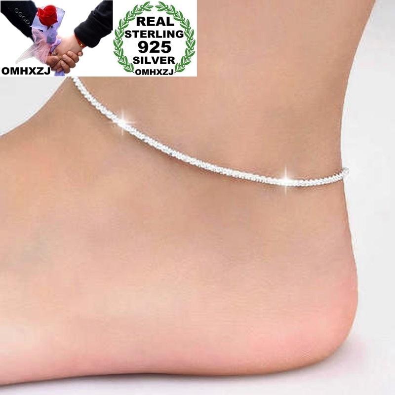 OMHXZJ оптом Европейская мода женщина девушка день рождения Свадебный подарок Простой Тонкий Blank 925 Sterling Silver Chain ножной JL03 T200714