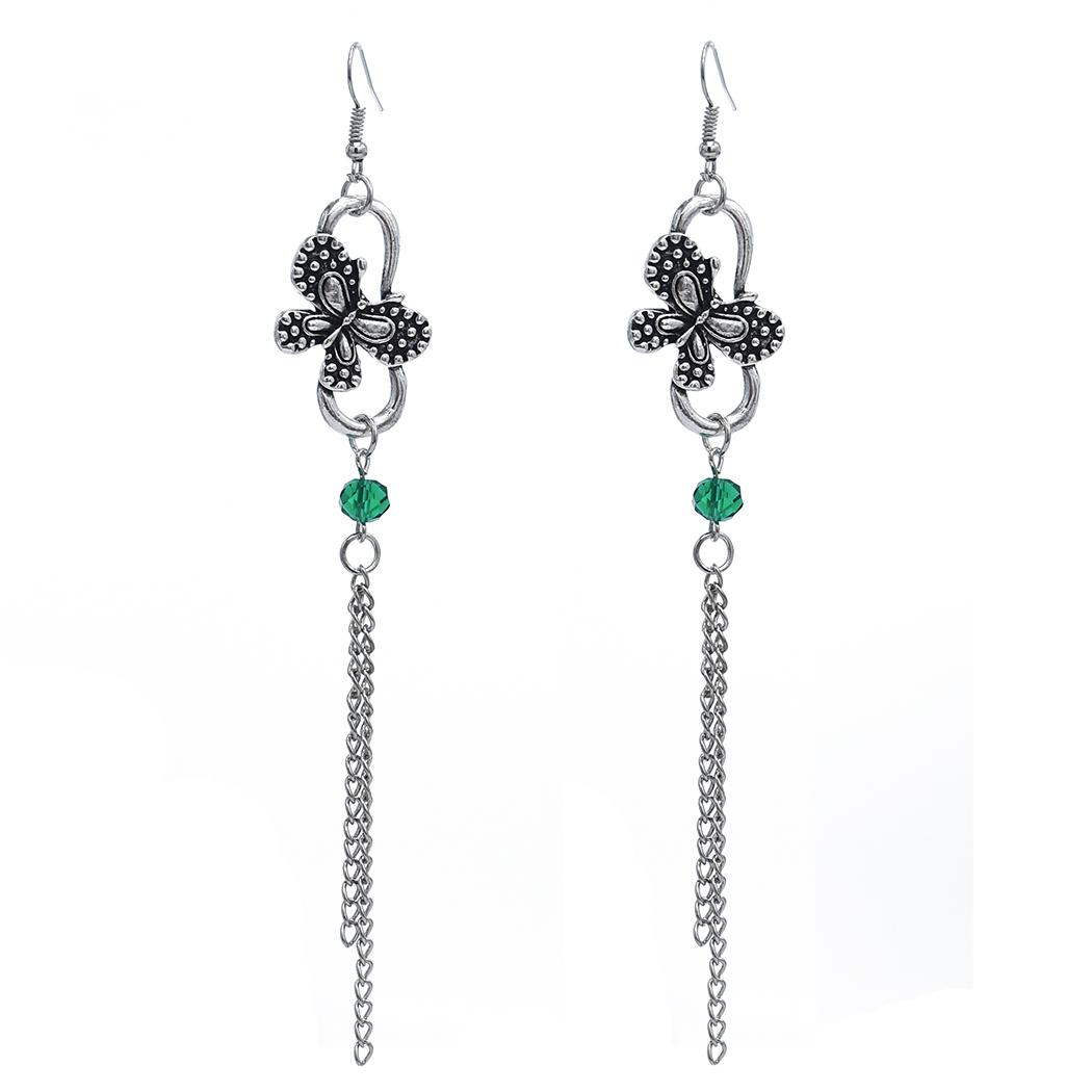 Weinlese-Silber-Metallacrylkorn-Schmetterlings-Tropfen-Ohrringe für Frauen Hochzeit Schmuck-Geschenk