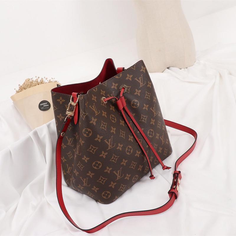 2021 Livraison rapide Mode Vintage Femmes Sacs en cuir seau sac à main Sac à bandoulière Messenger Drawstring Sacs à bandoulière avec Origin Box