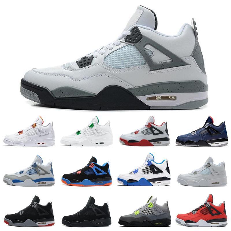 2020 Travis Scotts 4s 4 Shoes Mens Basketball Bred Branco Cimento Rasta Raptors White Sail Retro Varsity real Sneakers Tamanho 13