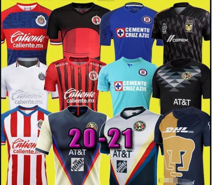 New Jersey Football 20 Club America Cruz Azul 20 21 Guadalajara Chivas Tijuana UNAM Tigres maison loin troisième GK Liga MX de football Chemises hommes
