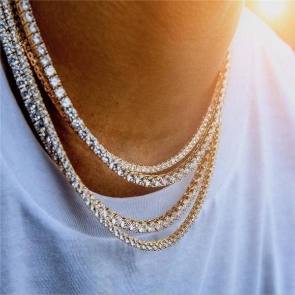 Мужские Hiphop Iced Out Цепи ювелирные изделия Алмазный Iced Out теннис цепи Hip Hop ожерелье ювелирных изделий 3мм 4мм серебро Золотая цепь Ожерелье b021