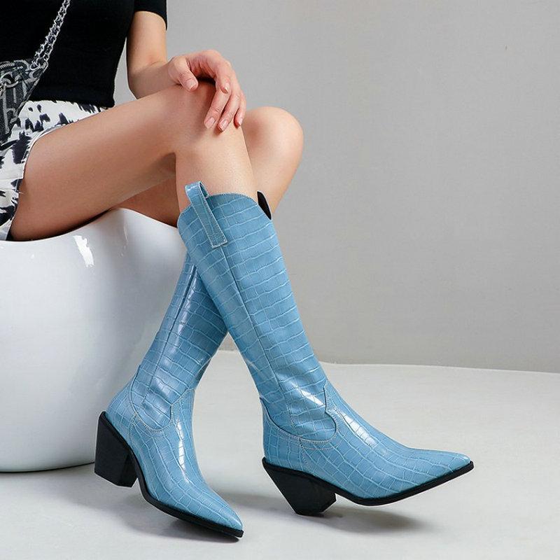 ZawsThia botas de diseño mujeres blancas de tacón azul en punta del dedo del pie grueso de cascos resbalón-en las botas sueltas para mujer mitad de la pantorrilla