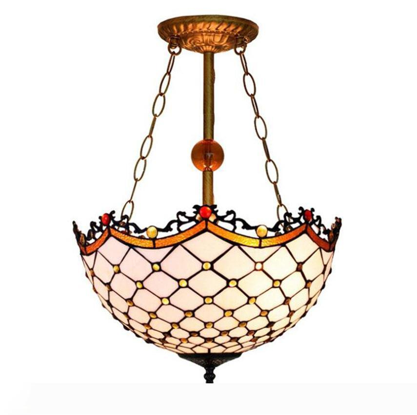 European Retro Tiffany Pendant Lamps Baroque Style Hanging light Fixture for Living Room Bedroom White Plaid Chandelier