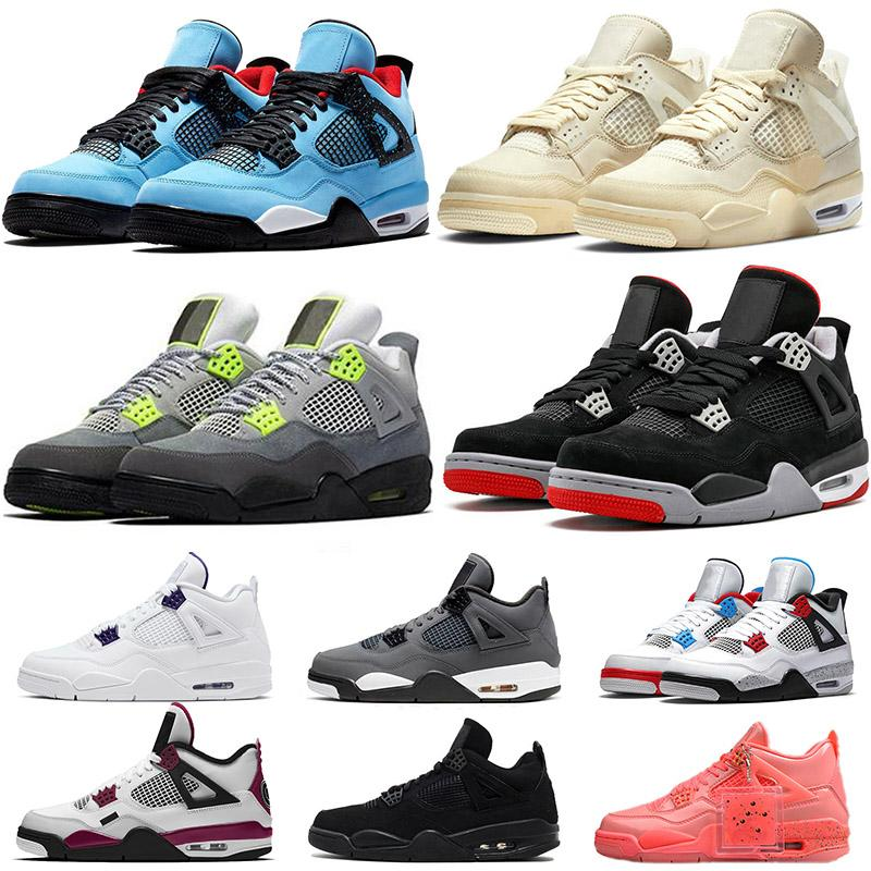 Womens Mens Sail 4 Basketball Shoes Jumpman 4s Neon Travis Scott New bred Hot Punch Black Cat Sneakers Trainers Size US 13