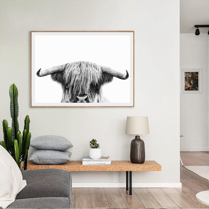 Highland Animal Cow Art Prints Nursery Wall Decor , Farm Animal Cattle Photography Bull Canvas Painting Wall Art Picture