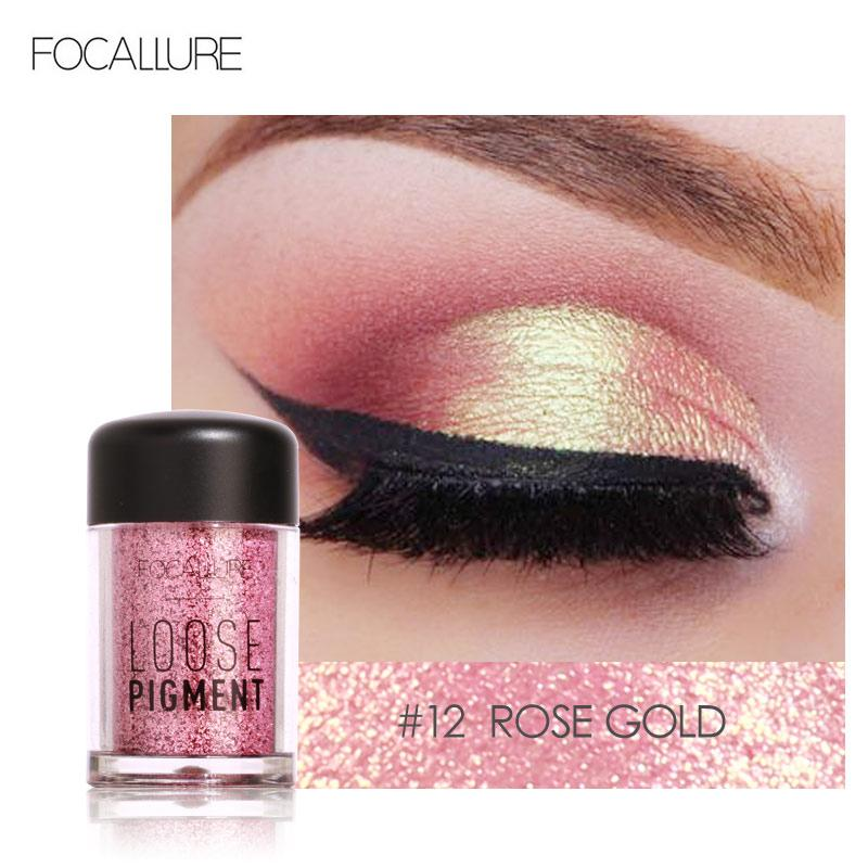 Sombra FOCALLURE Glitter Eye 18 Colors Makeup Cosmetic Diamante Loose Lips Maquiagem Olhos pigmento em pó Comestic Individual Sombra