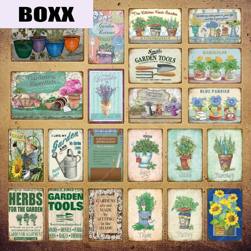 Décor de jardin Herb métal affiche signes vintage Tin Fleurs Wall Art Décor Maison Chambre Cuisine en plein air Décoration YI-028