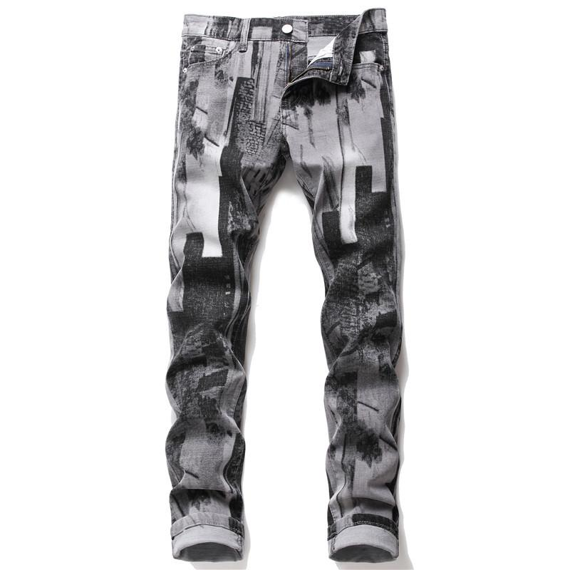 Kot Tasarımcı Baskı Gri Jeans Yüksek Kaliteli İçin Erkekler Boyut 28-38 2020 Sonbahar İlkbahar HIP HOP Punk Streetwear