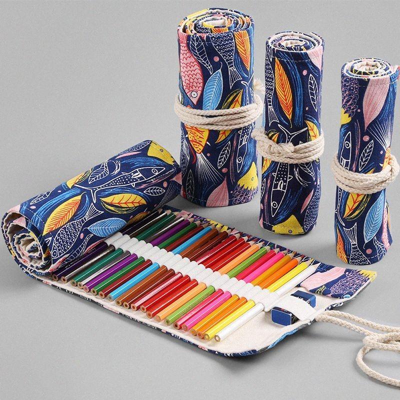 Nette Rolle Schule-Bleistift-Kasten-Leinwand 12/24/36/48/72 Holes Penal Pencilcase Für Mädchen Jungen Big Feder-Beutel-Briefpapier-Beutel Supplies 9wmg #