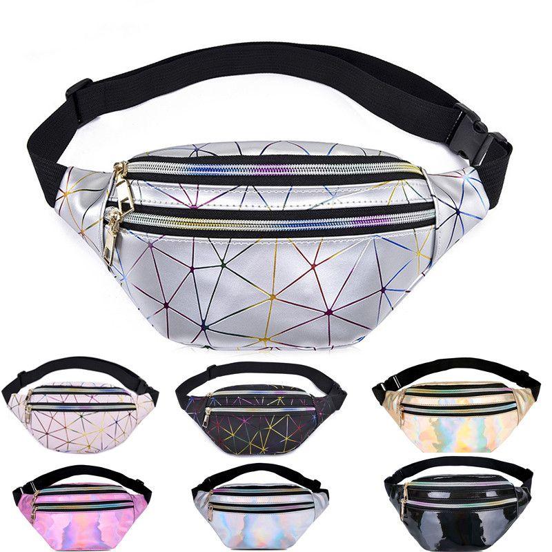 Cintura holográfica Sacos Mulheres Silver Bloco de Fanny Belt Bag Preto Geometric cintura Packs Laser Peito Telefone Bolsa Esporte Travel Bag