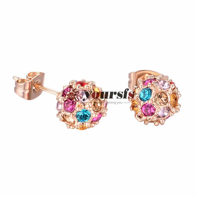 Yoursfs moda jóias 18k banhado a ouro cor bola zircão garanhão brincos mulheres aniversário presente de aniversário
