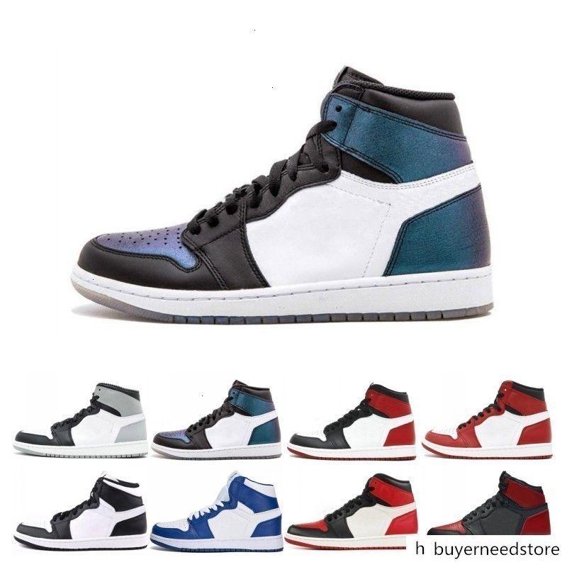 Mahkeme Mor Çam Yeşil Orta OG 1 3 erkekler kadınlar basketbol ayakkabıları 1s Chicago Royal Blue spor spor ayakkabıları Bred Banned