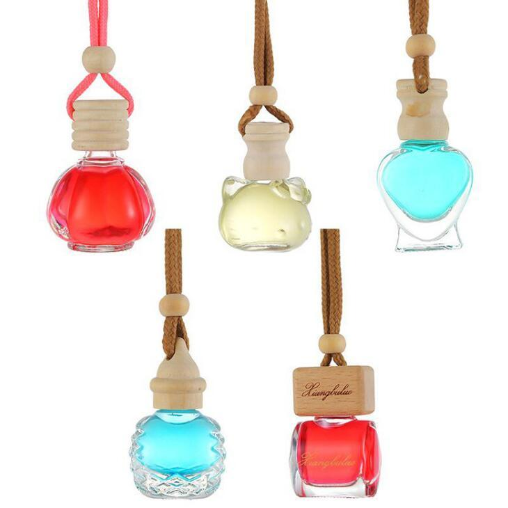 Glass Perfume Bottle Heart Cat Shape Empty Transparent Bottles Car Hanging Pendent Air Freshener Ornament Empty Cosmetic Container LX2370