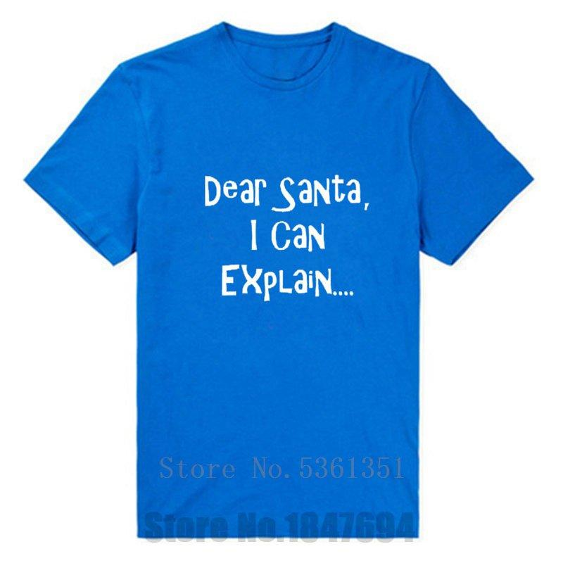 Новый Дорогой Санта, я могу объяснить мужские Рождество Смешные Xmas хлопка Юмор майка Tshirts подарков Смешной Юмор короткий рукав футболки