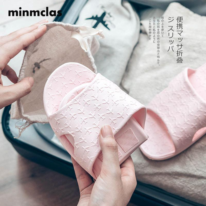 Minmclas EVA Couple Indoor Slippers Men and Women Summer Folding Portable Travel Slippers Guest Home Slip with bag