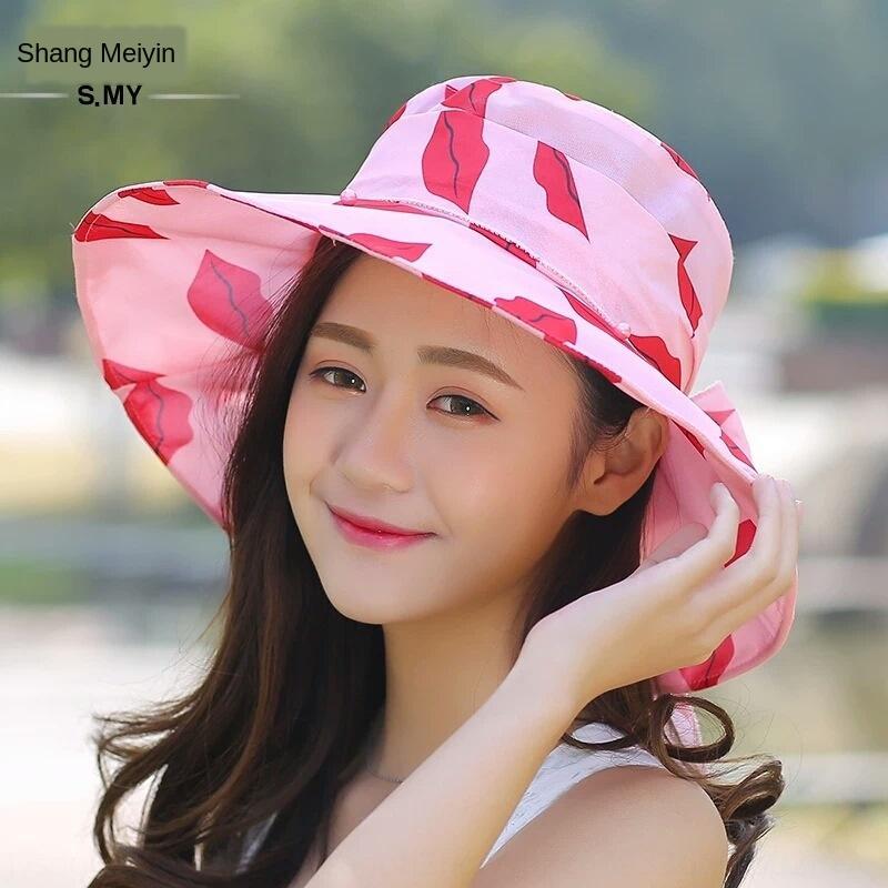 Travel'ın güneşlik kumaş ilmek kızarmış zarif bayan tatil güneş eğlence Kelebek şapka plaj şapka moda Kore versiyonu