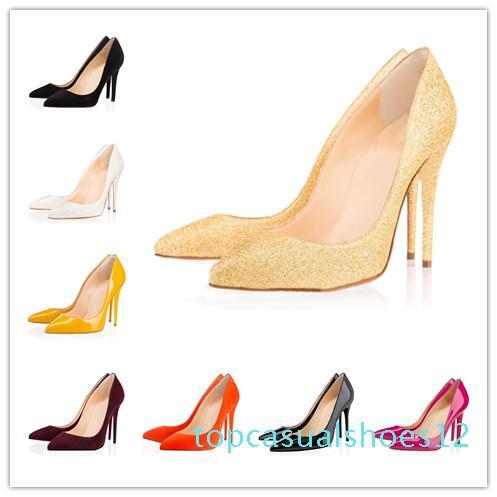 zapatos de las mujeres de la moda de diseño de lujo rojo zapatos de tacón alto inferiores 8 cm 10 cm 12 cm negro desnudo de cuero roja puntas de los pies vestido de la bomba zapatos t12