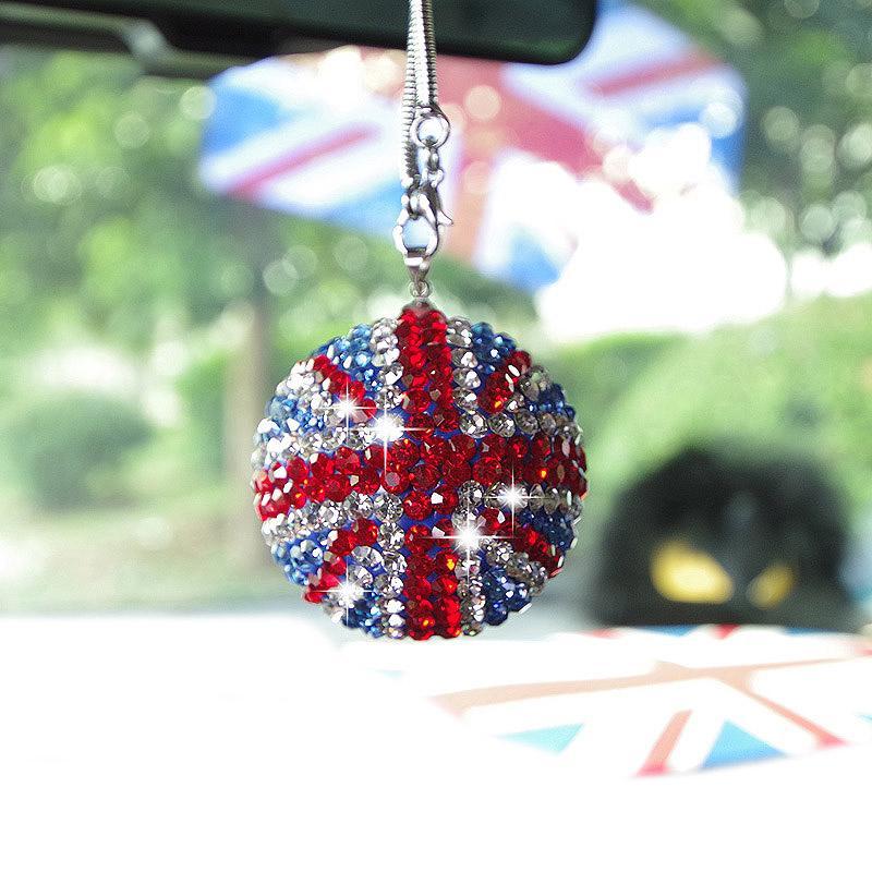Hot Bling Auto Rückspiegel-Anhänger Kristallkugel Strass hängende Verzierung für Mini Cooper Car Charm Dekoration Zubehör