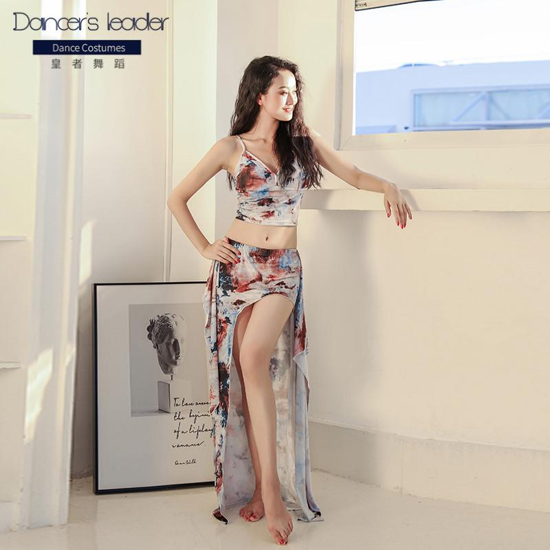 Belly dance practice clothes suit sling top + long skirt two-piece oil painting style oriental dance woman wear suit