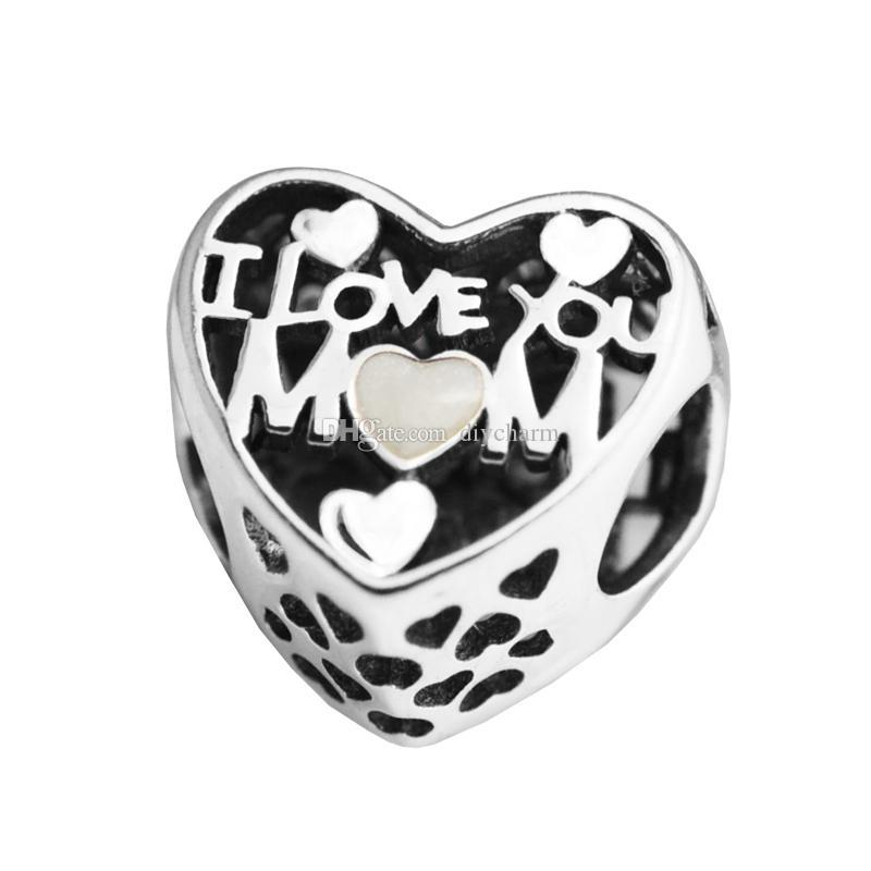 2017 Mother's Day Silver Beads DIY Fit Pandora bracelets Authentic 925 Sterling silver Charms i love you mum LIKKSL-124 free shipping