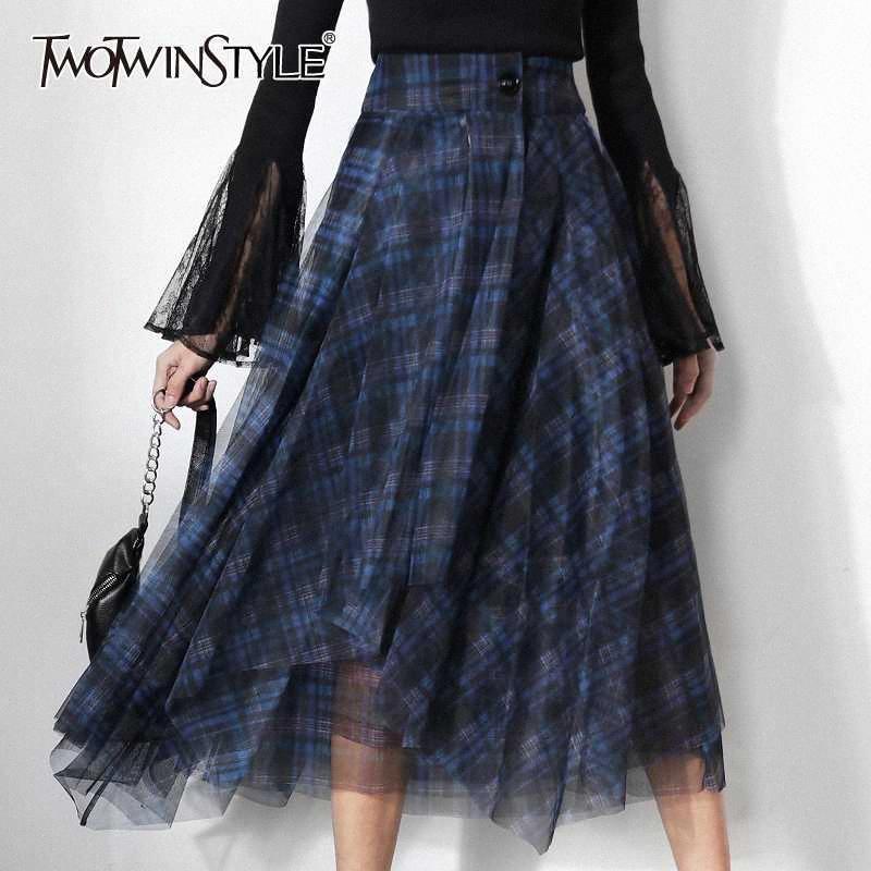 TWOTWINSTYLE beiläufige Plaid Patchwork Mesh-Frauen-Röcke mit hoher Taille Hit Farbe Elegante eine Linie Rock Female 2020 Spring Fashion New qb3n #