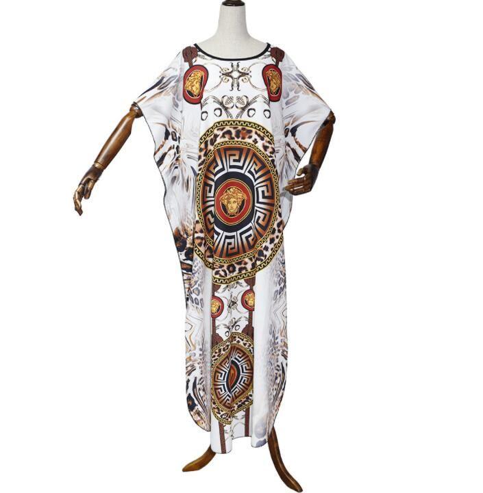 L-XXXL Мода Elegent африканского платья сексуальные женщины рыхлой печати Maxi платье партии Bat рукавом Повседневные платья