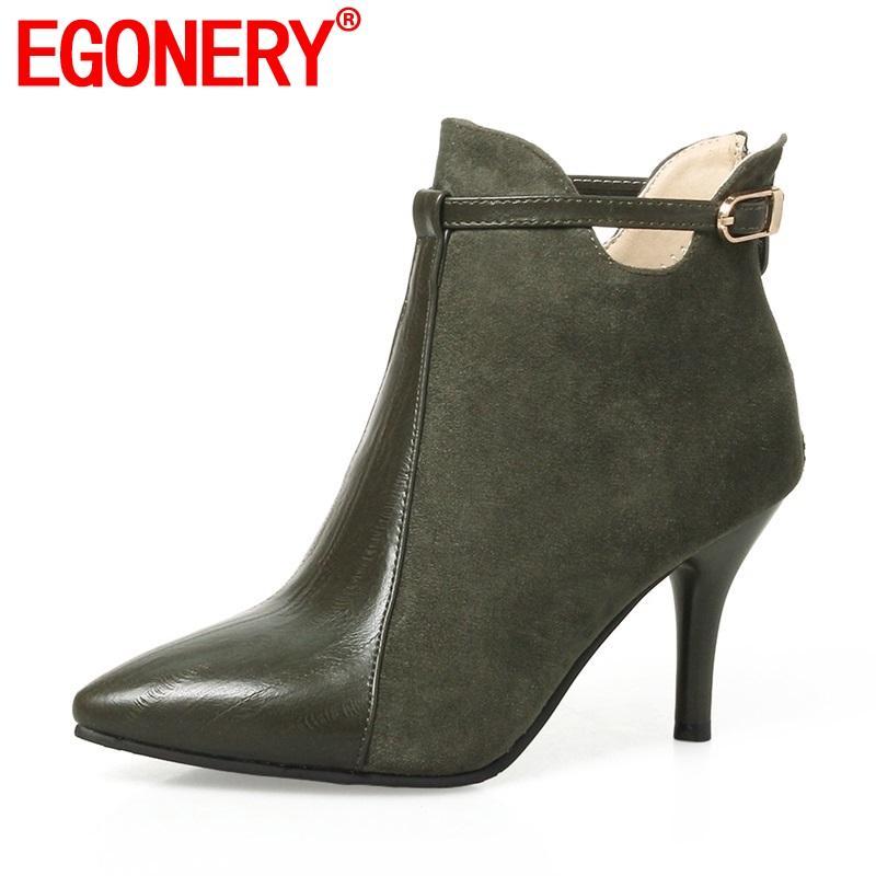 EGONERY botas mulheres mais novas zíper super saltos altos finos pontas rebanho dedo do pé e pu fivela de metal sensuais fashion três cores booties