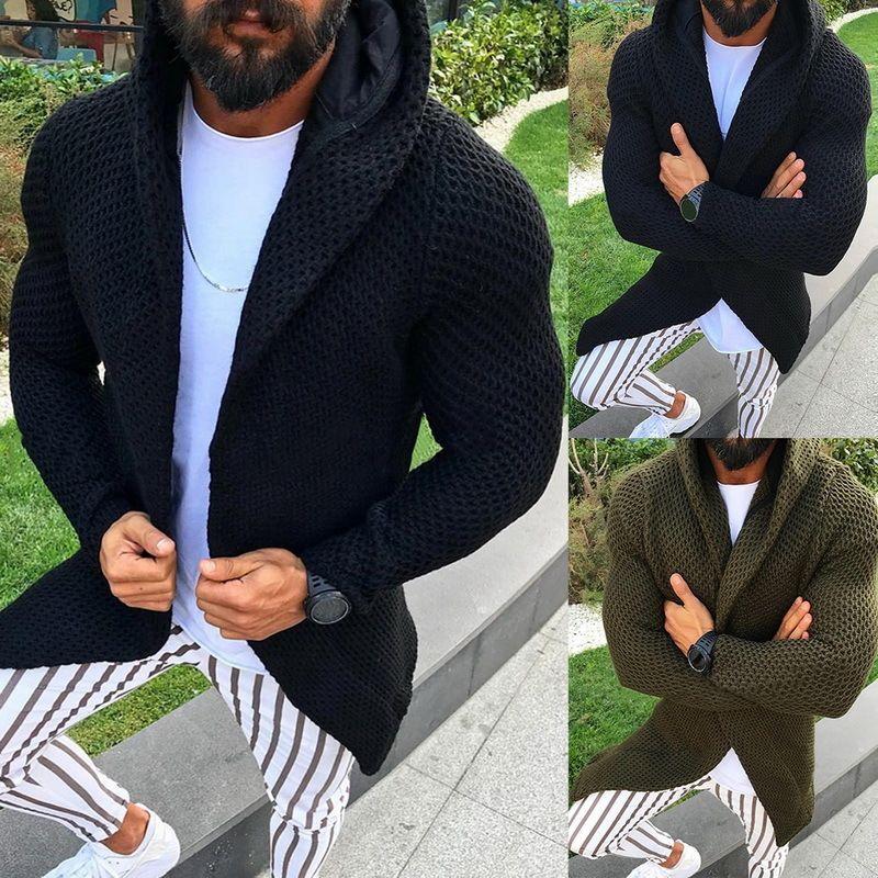 Abra Ponto Casual Brasão Men Sweatercoat roupas de inverno com capuz da camisola Tricot Cardigan masculino Outono Hoodies camisola de malha Hombre MX200711