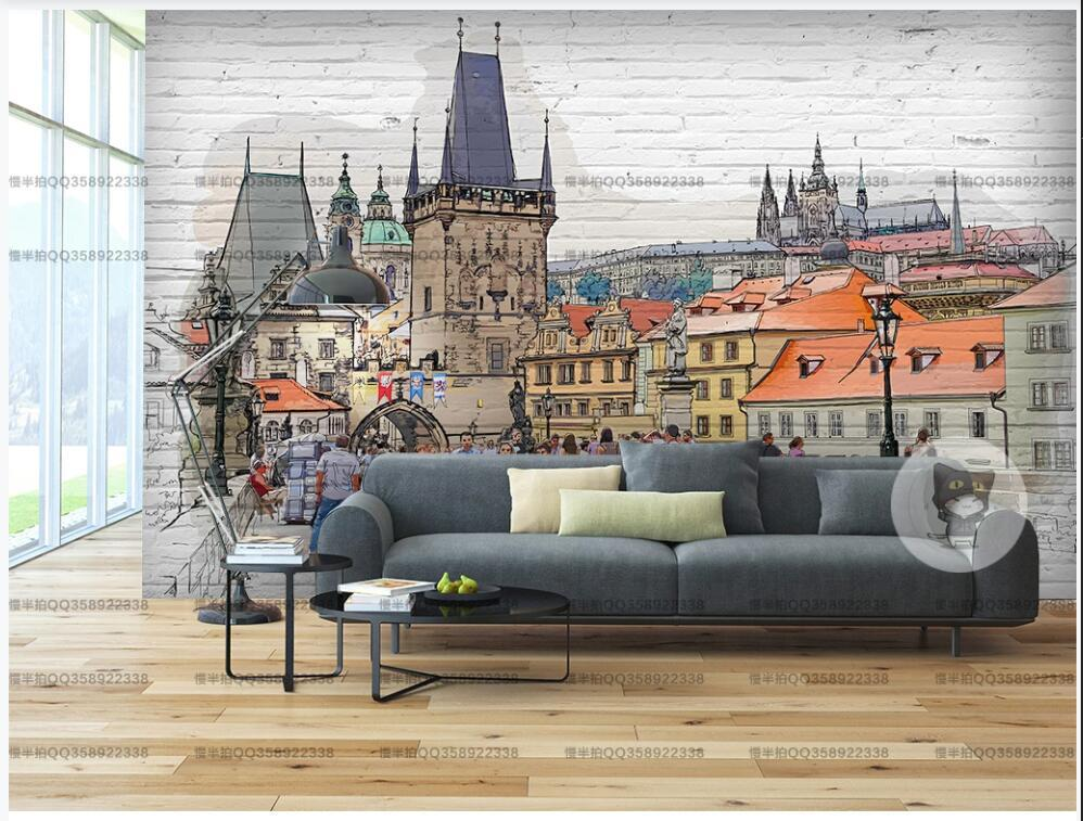 3d photo wallpaper custom mural on the wall Hand drawn sketch European cities background home decor Wallpaper rolls in the room