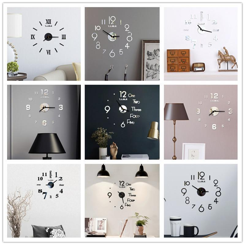 الاكريليك ساعة الحائط DIY مرآة ساعة الحائط الفن الاكريليك 3D مرآة ملصق مكتب ديكور المنزل هدية فريدة من نوعها DHD4