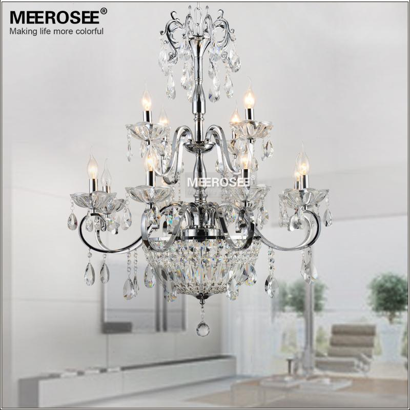 Modern Wrought Iron Crystal Chandelier Light Fixture Chrome 2 tiers E14 or E12 Lights K9 Crystal Pendant Hanging Lustre Lamp For Living room