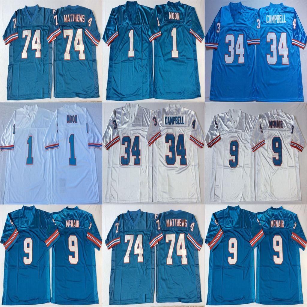 NCAA 1 Warren Moon Jersey 9 Steve McNair 74 Bruce Matthews 34 Earl Campbell Retro College Football Jerseys genäht Mens Blau Weiß