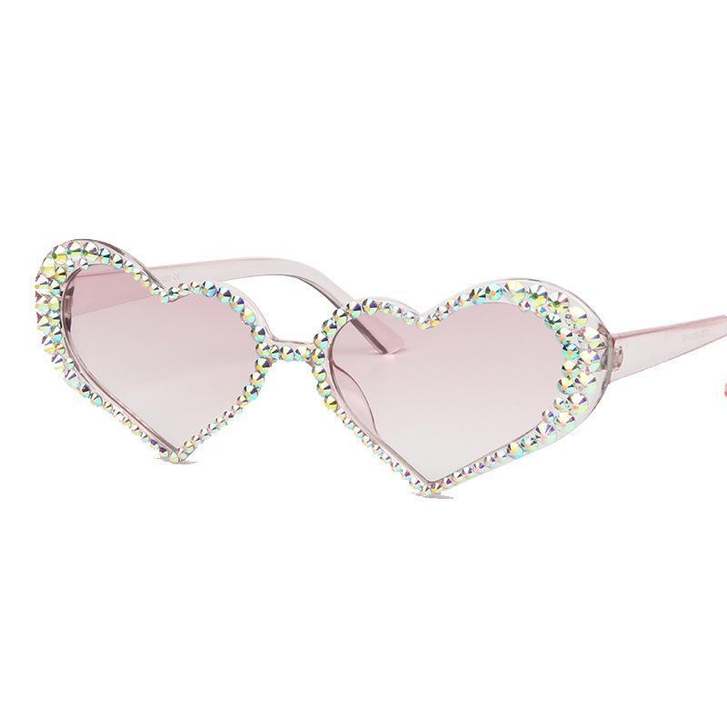 Rhinestone de señora Heart atractiva de la vendimia gafas de sol de las mujeres dulce de la manera del color del caramelo del ojo de gato de diamantes Gafas de sol vidrios claros