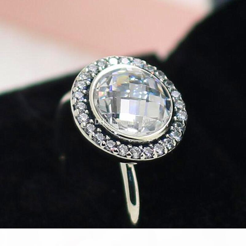 Yüksek kaliteli% 100 Temizle CZ Avrupa tasarımcı Stil Takı cazibesi ile 925 Gümüş Işıltılı Miras Yüzük